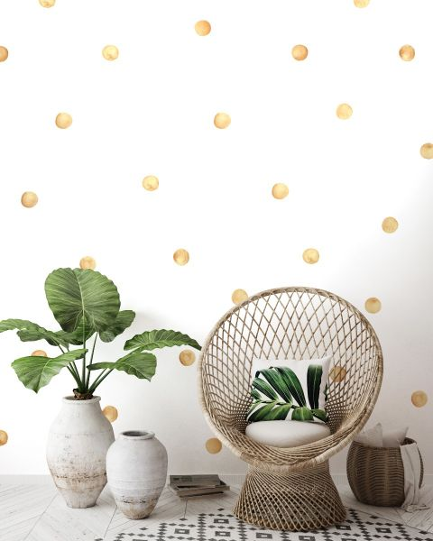 Watercolor Dots Wall Stickers - Gold