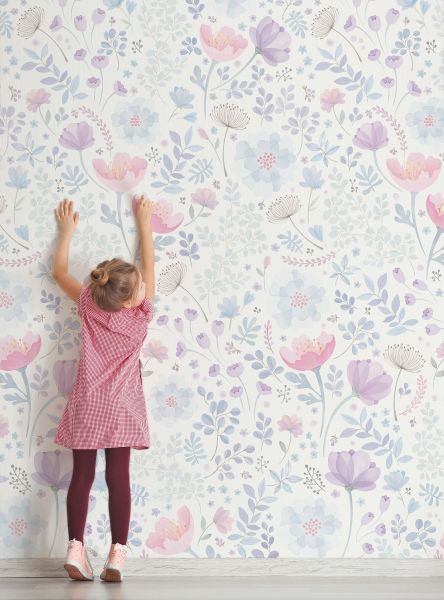 Whimsy Floral Watercolor Mural- Pink Purple