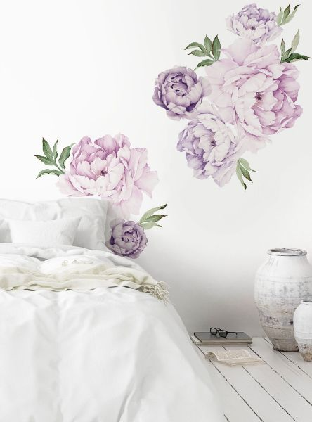 Mixed Lavender Purple Peony Flowers Wall Sticker