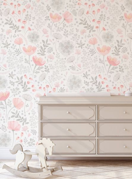 Whimsy Floral Watercolor Mural- Coral Grey