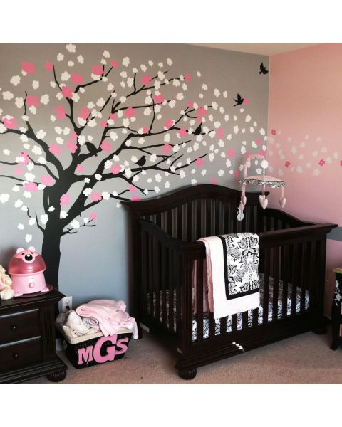 Cherry Blossom Tree Elegant Style Wall Decal - Scheme A