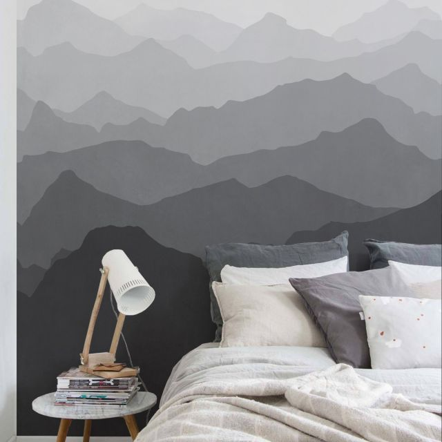 Non Woven W#41 Valley of mountains Wall Decal Wall Mural Wall Mural Removable Wall Wallpaper Peel and Stick Nature Photo Wallpaper