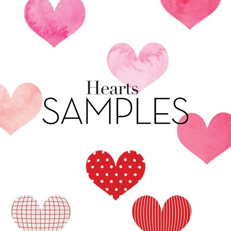 Watercolor and Patterned Hearts Wall Stickers - Sample Swatches