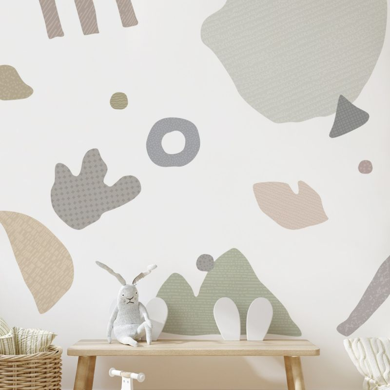 Abstract Organic Shapes Peel and Stick Wall Sticker - Grey
