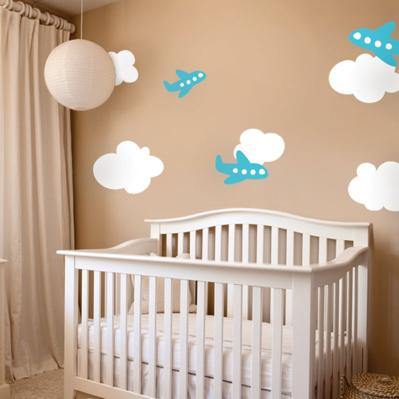 Airplane with Clouds Wall Decal - Scheme A