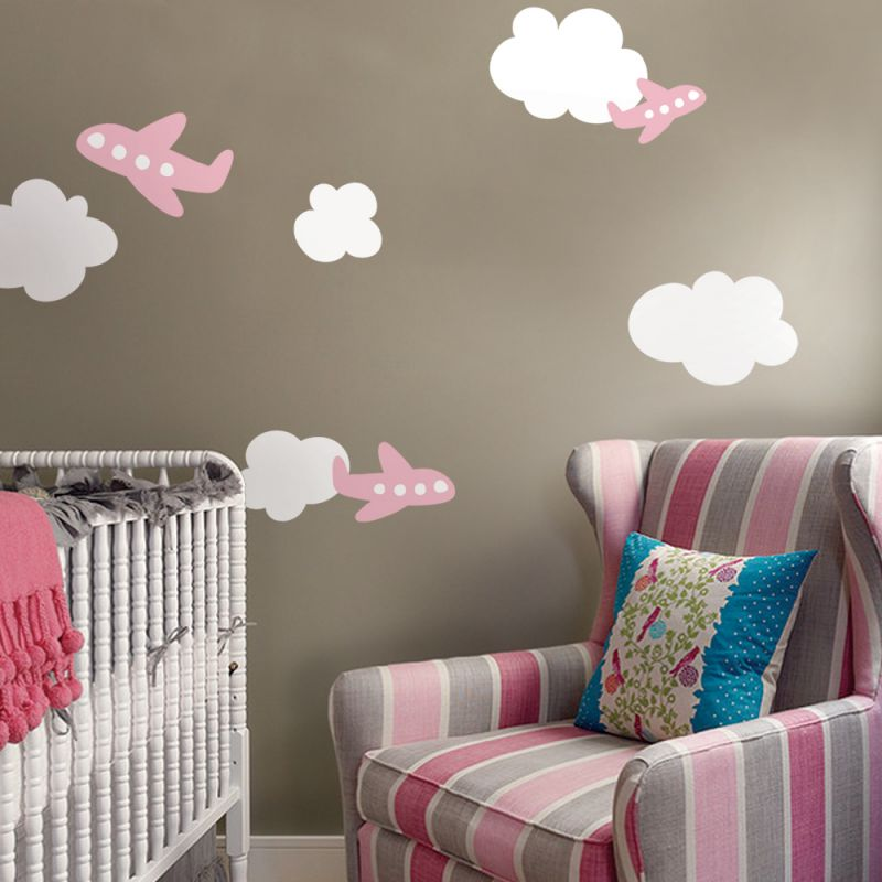 Airplane Wall Decal with Clouds