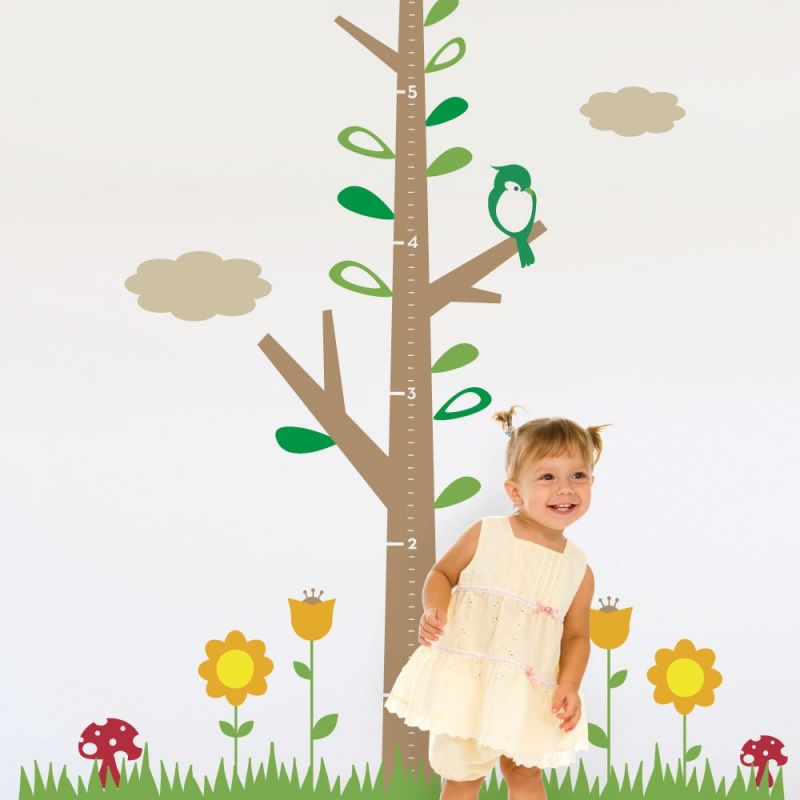 Kids Growth Chart Tree with Flowers
