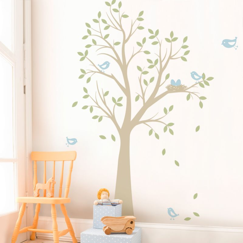 Tree with Birds and Nest Wall Decal - Scheme A