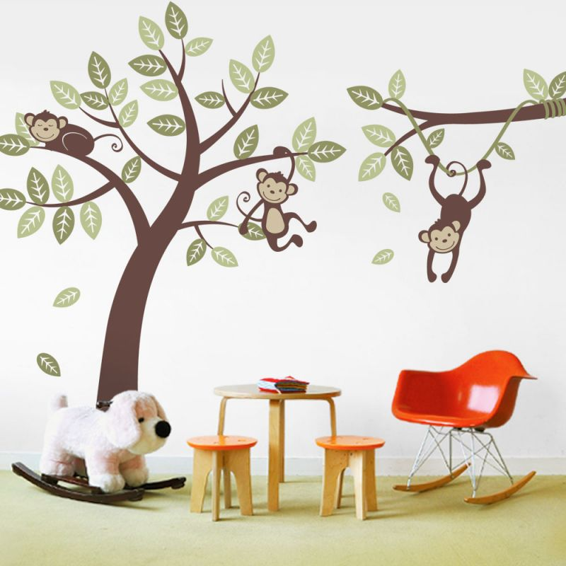 Monkey Tree Wall Decal with Branch Vine Wall Decal - Scheme A