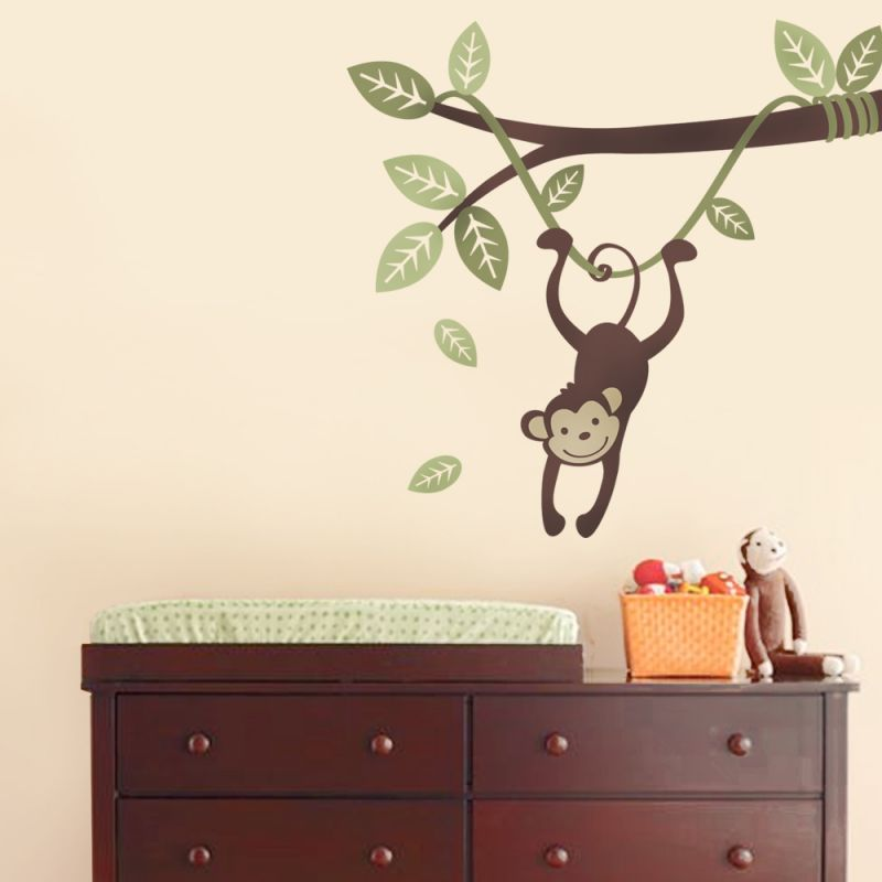 Monkey Wall Decal Hanging on a Branch Vine Wall Decal - Scheme A