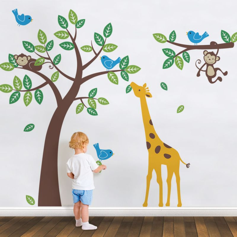 Tree with Monkeys Giraffe and Birds Wall Decal - Scheme A
