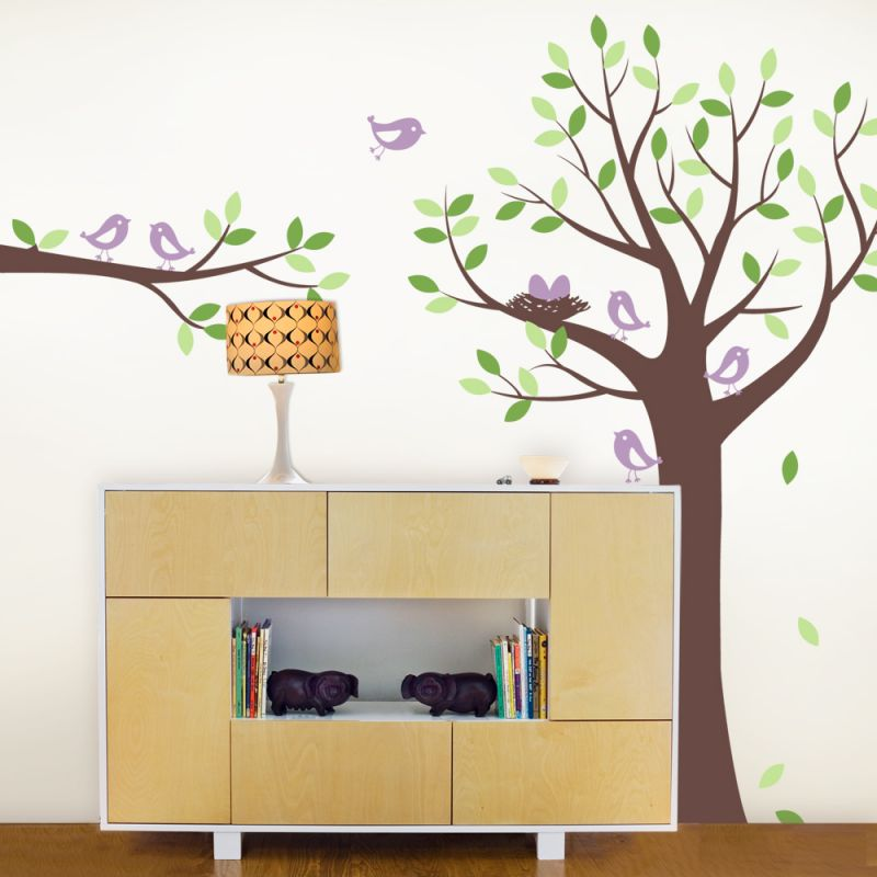 Tree Wall Decal with Bird Family Wall Decal - Scheme A