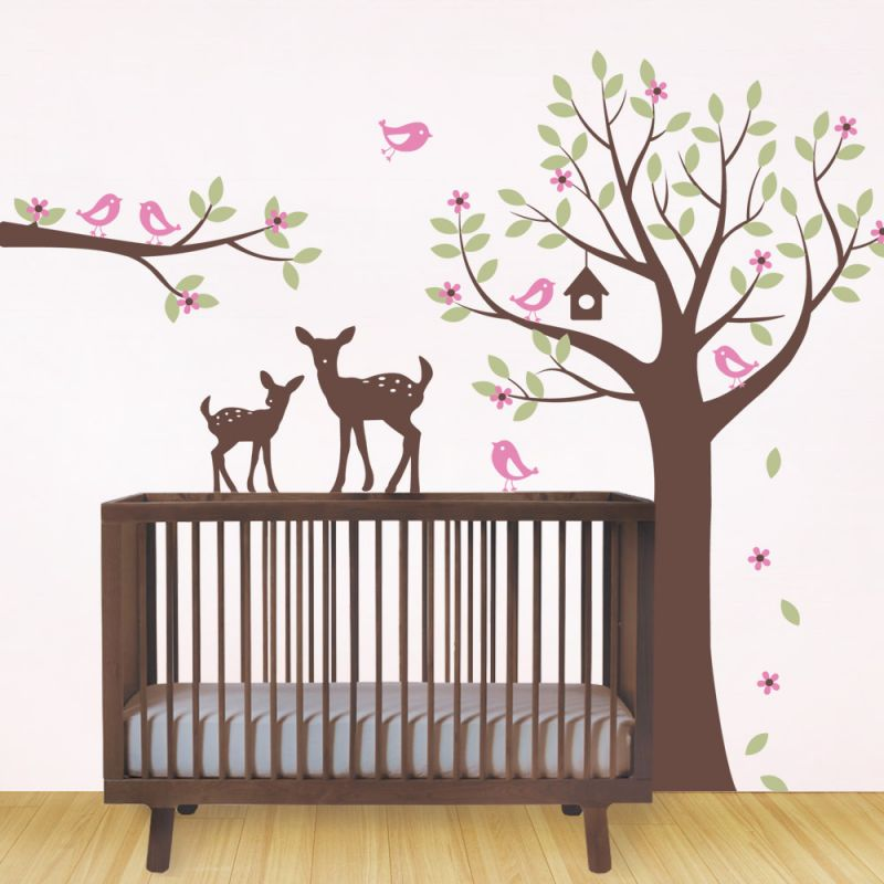 Flower Tree with Birds and Deer Wall Decal - Scheme A