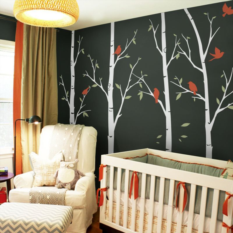 Thin Birch Tree Wall Decal - Scheme A