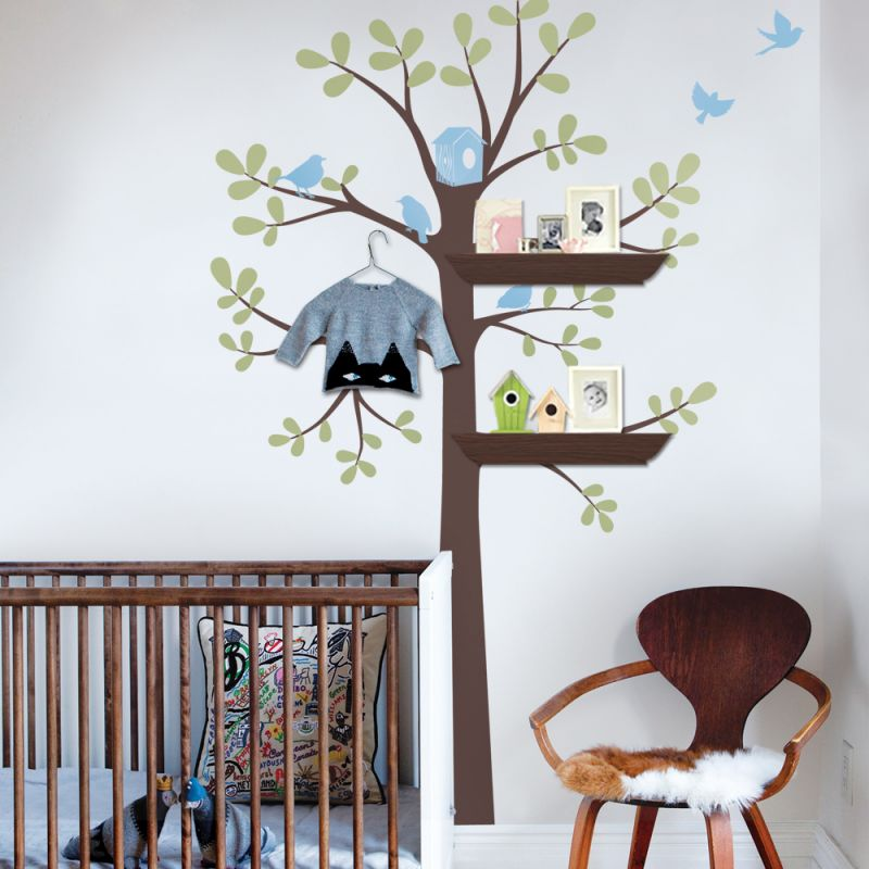 3 Color Shelving Tree Wall Decal - Scheme A