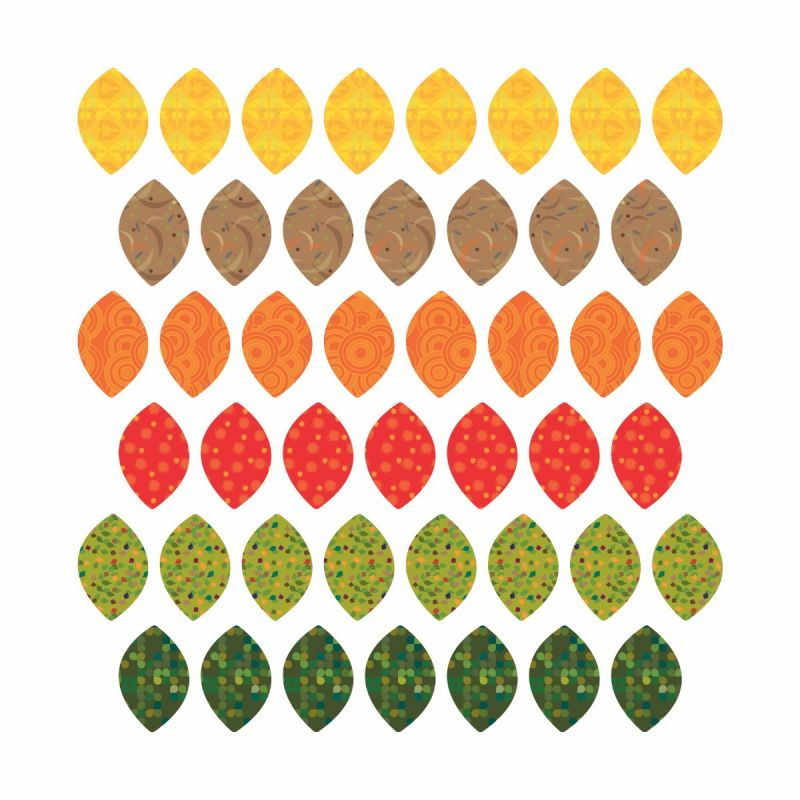 Patterned Leaves Fabric Wall Stickers - Fall Leaves