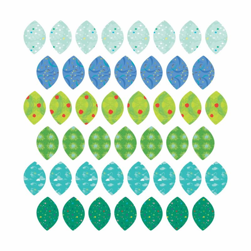 Patterned Leaves Fabric Wall Stickers - Summer Leaves