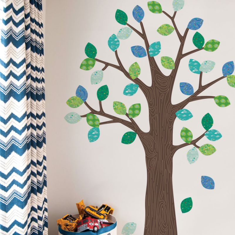 Pattern Tree with Leaves Wall Sticker