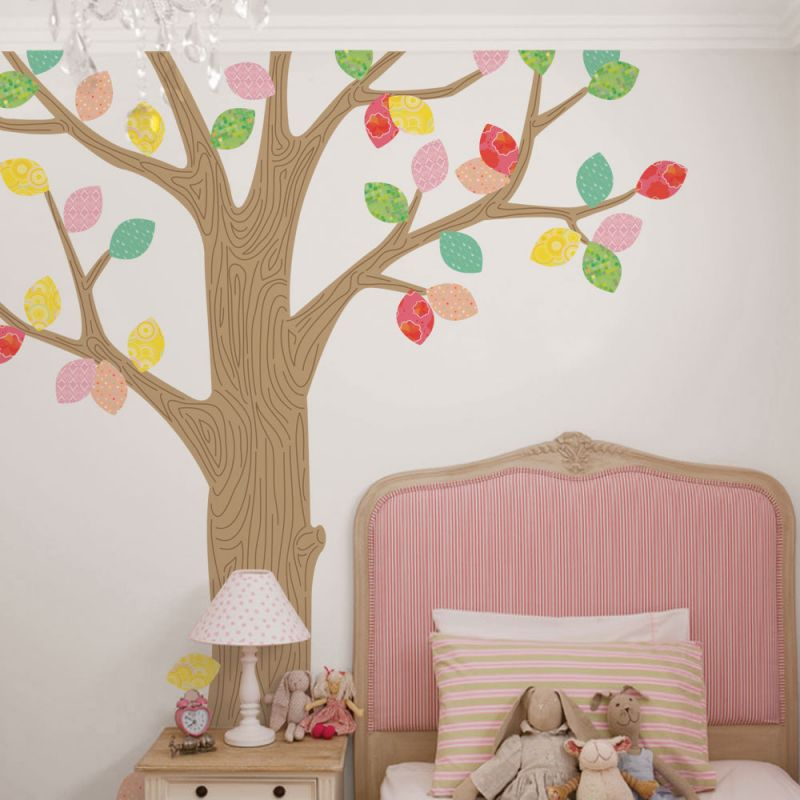 Pattern Tree with Leaves Ceiling Style Wall Sticker