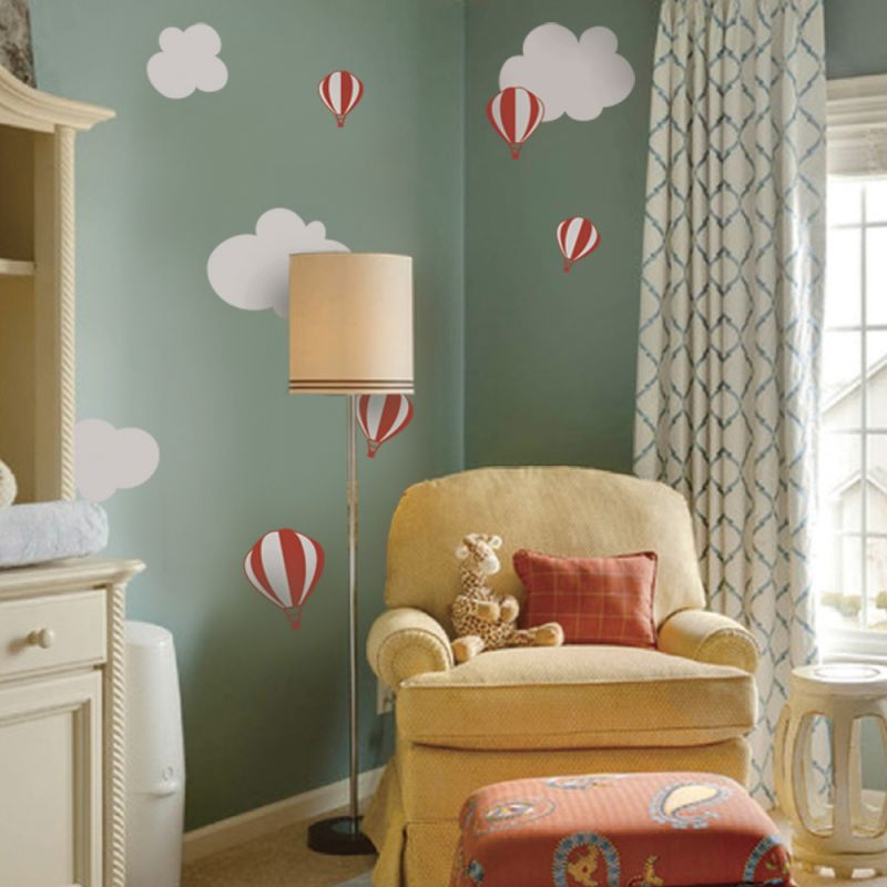Hot Air Balloon with Clouds Wall Decal - Scheme A