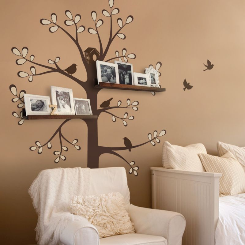 Shelving Tree Decal with Birds - Scheme A