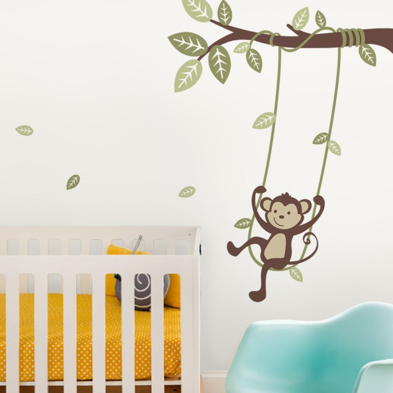 Monkey on a Swing Wall Decal - Scheme A