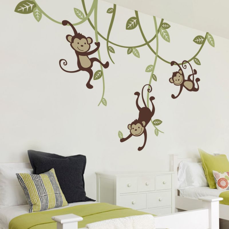3 Monkeys Swinging From Vines Wall Decal - Scheme A