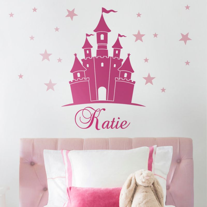 Princess Castle Wall Decal with Personalized Name - Scheme A