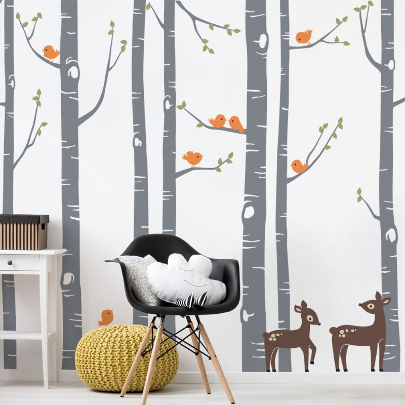 Birch Tree with Birds and Deer Wall Decal - Scheme B