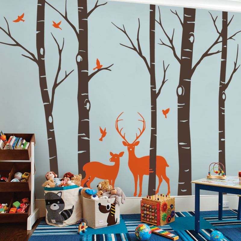 Birch Tree with Deer and Birds Wall Decal - Scheme A