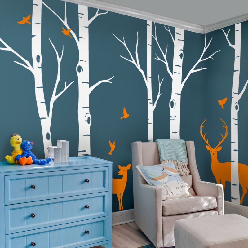 Birch Tree with Deer and Bird Wall Decals