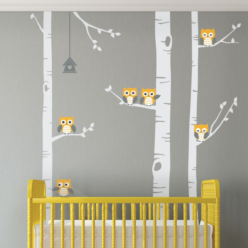 Birch Tree With Owls Wall Decal - Scheme A