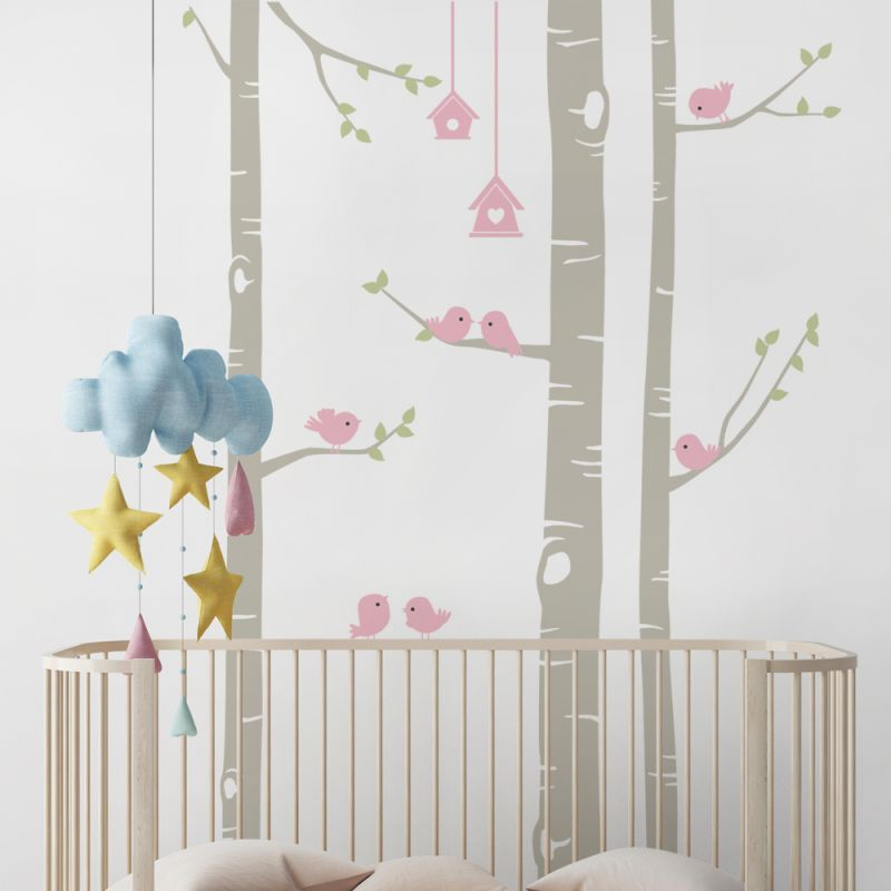 Birch Tree with Birds Wall Decal - Scheme A