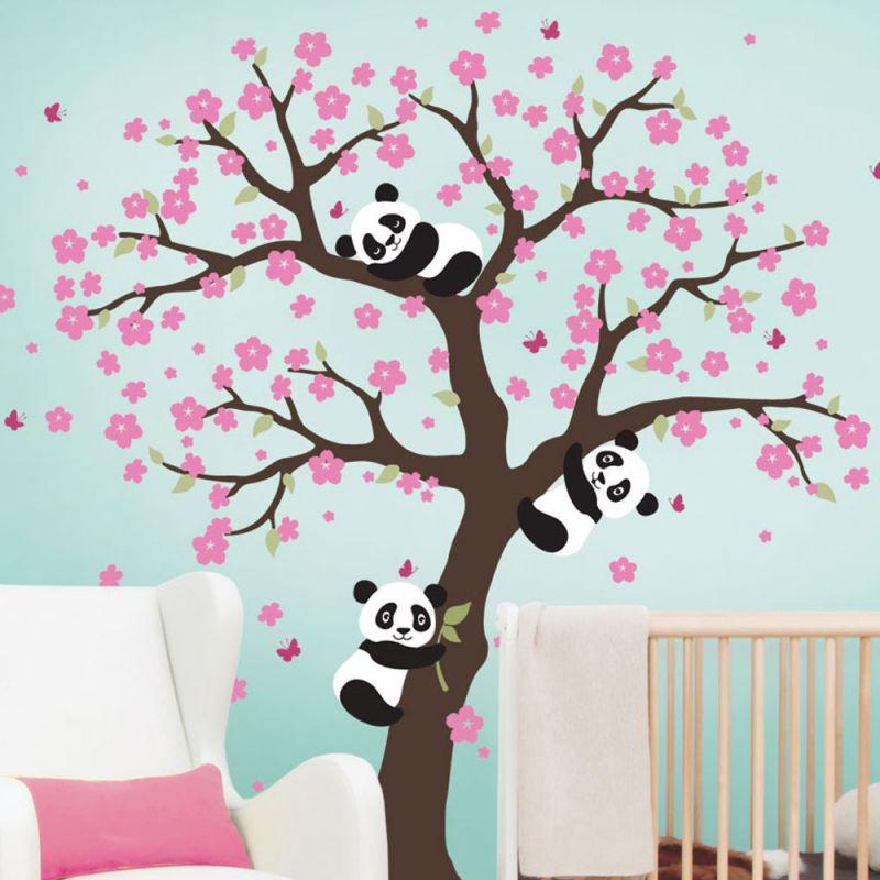 Panda Cherry Blossom Tree Decal - Scheme A