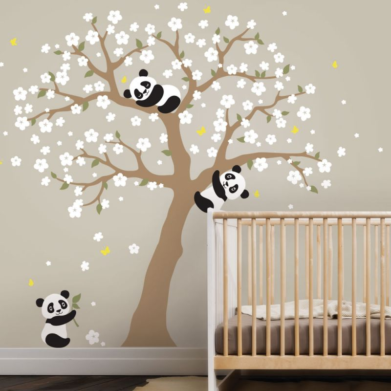 Panda Cherry Blossom Tree Decal