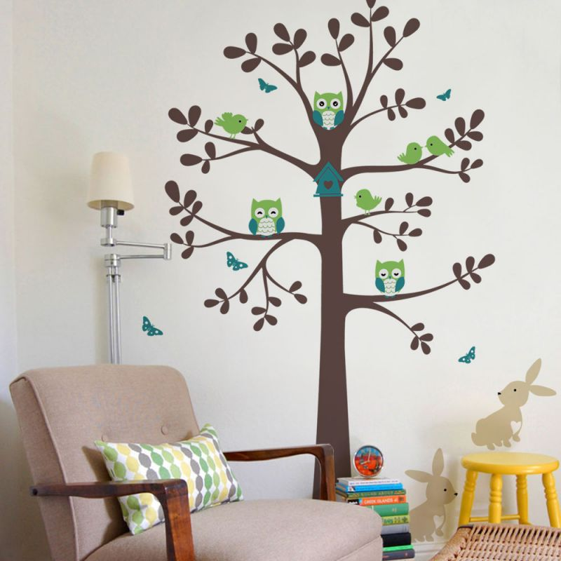 Tree wall decal with owl