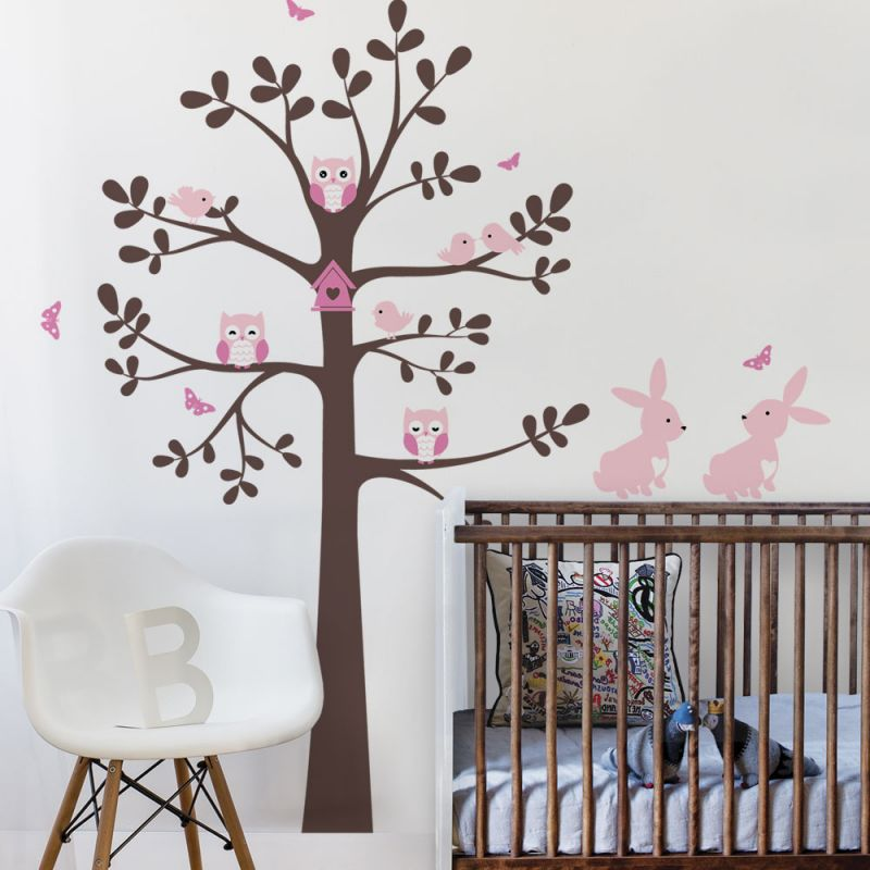 Tree wall decal with owls