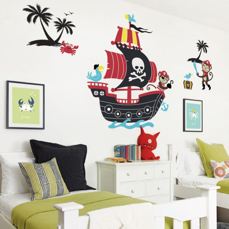 Monkey Pirate Ship Wall Decal