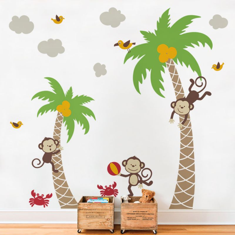 Monkeys with Palm Trees Wall Decal - Scheme A