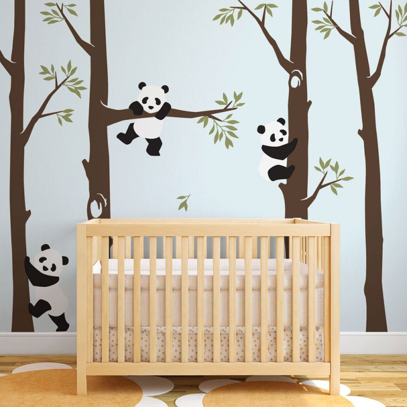 Trees with Panda Wall Decal - Scheme A