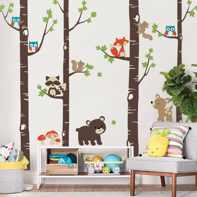 Birch Trees with Cute Forest Animals Wall Decal - Scheme A
