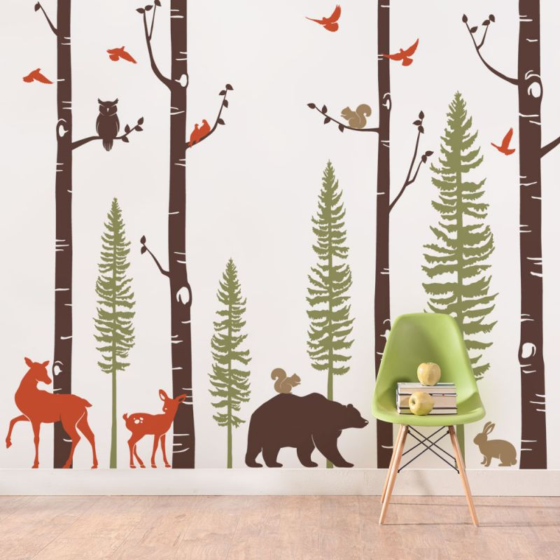 Birch Trees with Animals Wall Decal -  Scheme A