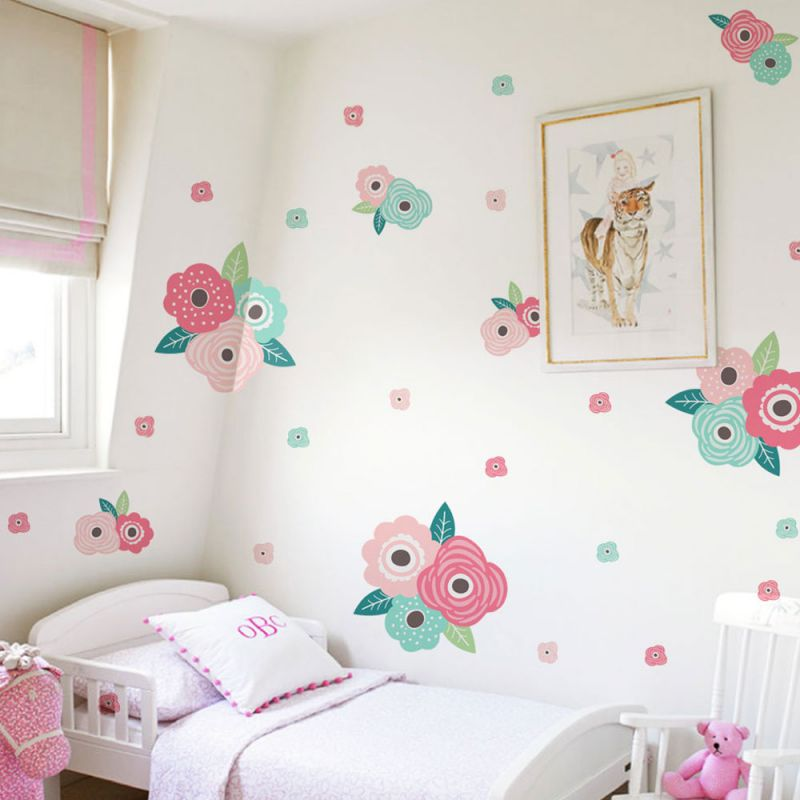 Kids Flower Wall Sticker - Spring Pink and Mint Blooms