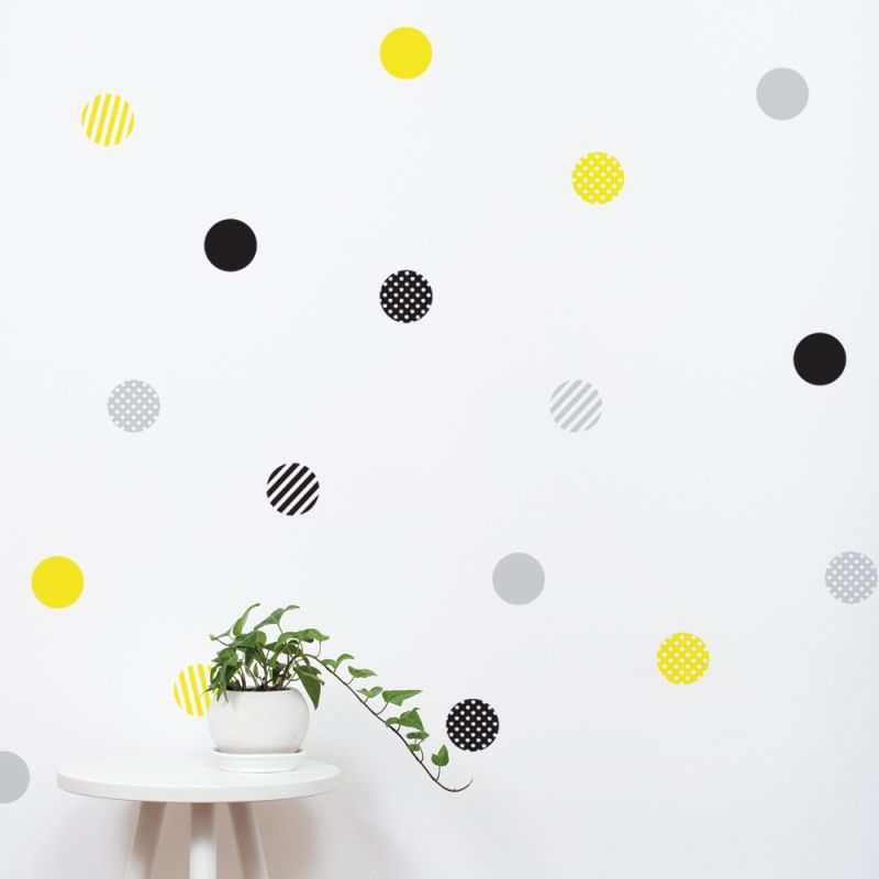Black/Grey/Yellow Mixed Patterned Dots Wall Stickers