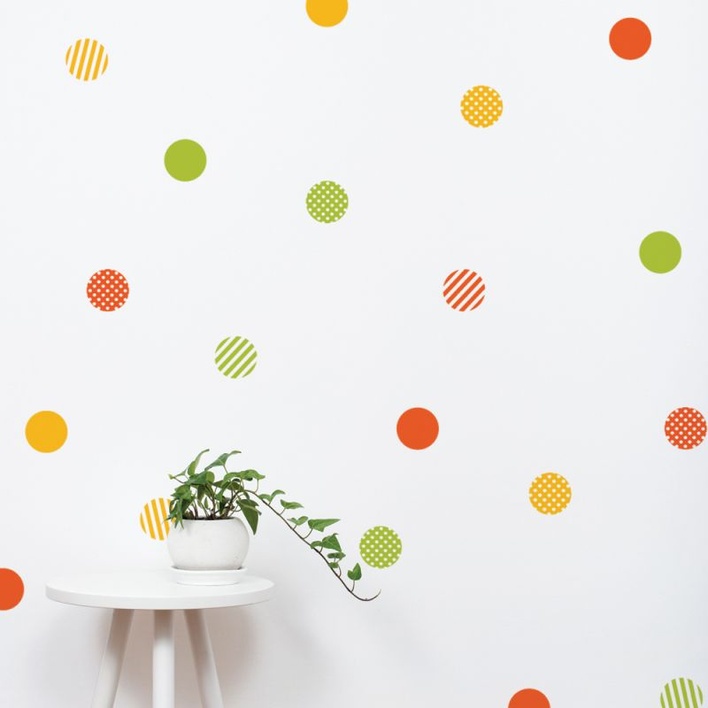 Mixed Patterned Dots Wall Stickers - Orange/Green/Yellow