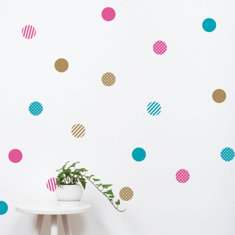 Pink/Teal/Gold Mixed Patterned Dots Wall Stickers