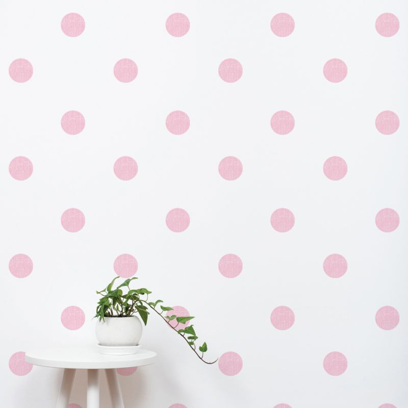 Baby Pink Textured Dots Wall Stickers