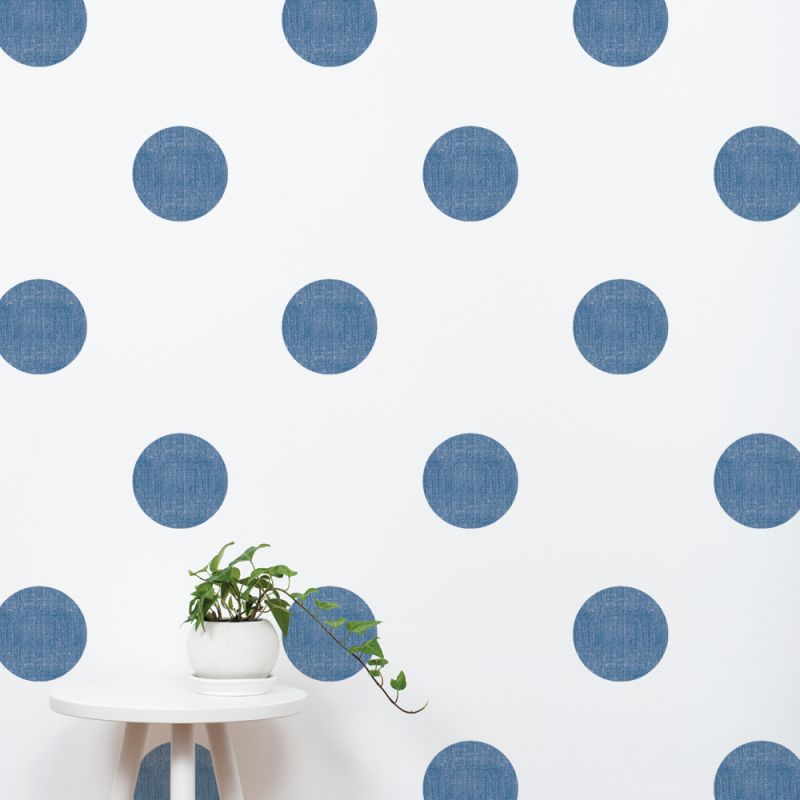 Navy Textured Dots Wall Stickers