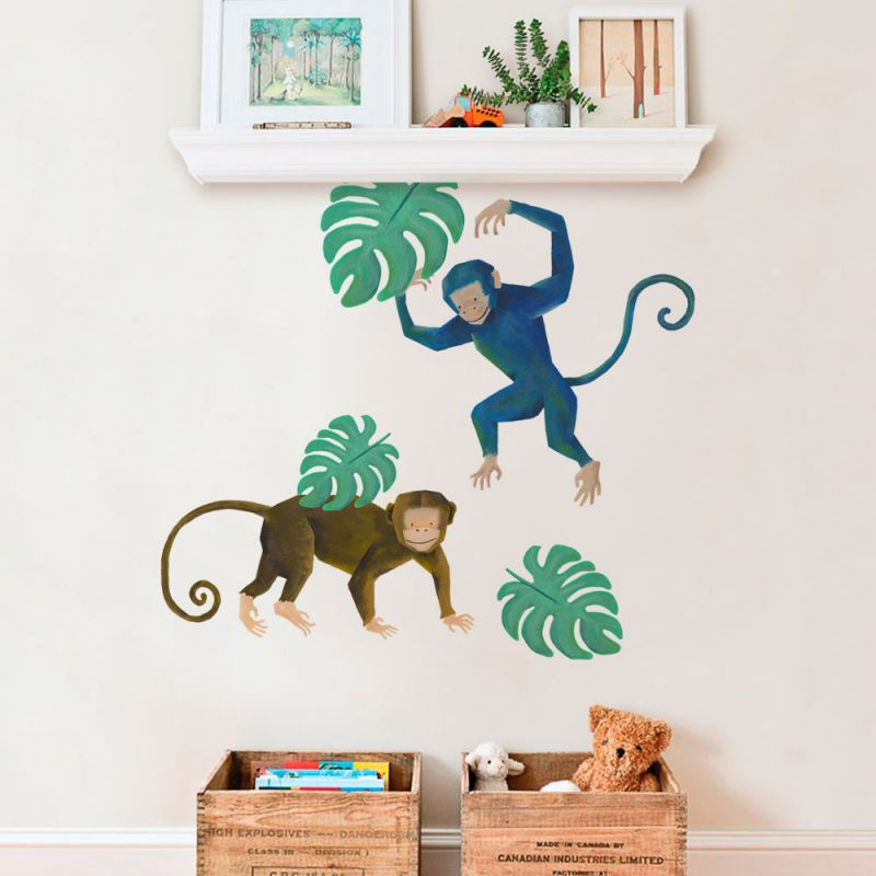 Tropical Leaves Wall Sticker - Monkey