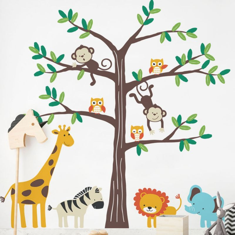 Safari Tree with Cute Animals Wall Decal - Scheme A